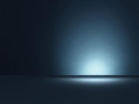 ビネットと青い背景を持つテーブル トップ スタイルの水平方向のショット、スポット ライト照明は、空とコピー スペース プレーンを残しました。