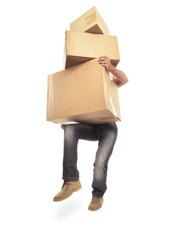 too many: Man carrying too many boxes isolated on white