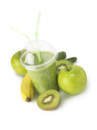 bannana: Green fruit smootie with bannana, apple and kiwi Stock Photo