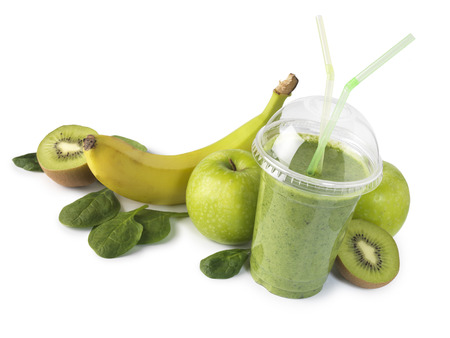 bannana: Green smoothie with fruit isolated on white background