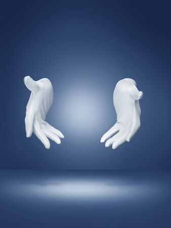 Magicians hands on blue background with clipping path