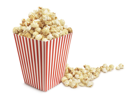 eating popcorn: Cinema popcorn on a white background Stock Photo