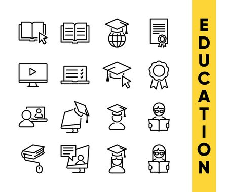 Education vector icons set for internet and online education, e-learning resources, distant online courses, colleges, academies universities and schools. Line art minimalist style. Black color.