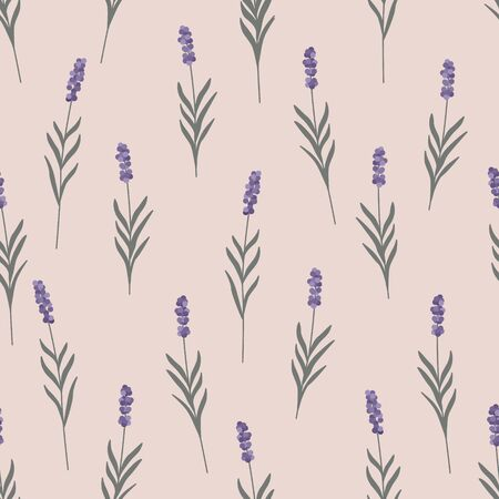 Lavender flowers seamless pattern. Trendy minimalist Scandinavian rustic style. Pale pink background. Pastel colors. Can be used for textile, wrapping paper, invitation, wallpaper. Vector illustration