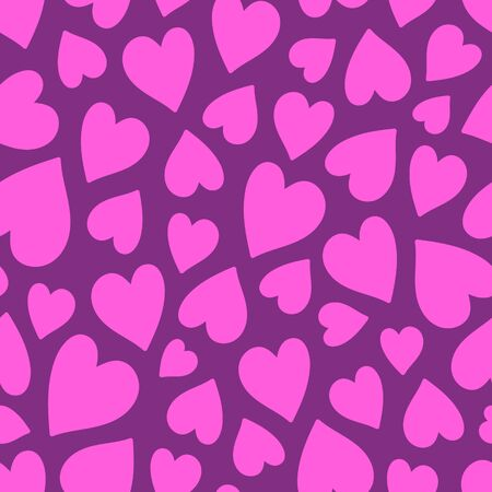 Bright pink hearts seamless pattern on a purple background. Flat, minimalist and simple. Can be used for a Valentines day card, wallpaper, wrapping paper, textile print, backdrop.