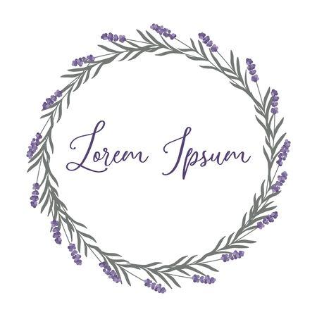 Corona de lavanda elegante minimalista en colores pastel aislado sobre fondo blanco. Estilo simple y minimalista de moda. Flores púrpuras y violetas. Ilustración vectorial.