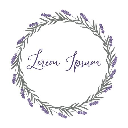 Minimalist elegant lavender wreath in pastel colors isolated on a white background. Trendy simple and minimalist style. Purple and violet flowers. Vector illustration.