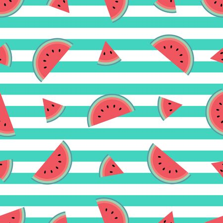 Cute watermelon pattern with turquoise stripes. Flat cartoon style. Minimalist and simple. Can be used as a wallpaper, wrapping paper, textile print, backdrop etc. Seamless vector illustration. Reklamní fotografie - 138374746