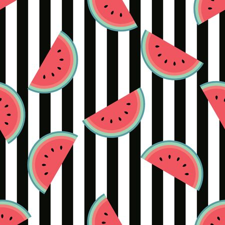 Cute watermelon pattern with black stripes. Flat cartoon style. Minimalist and simple. Can be used as a wallpaper, wrapping paper, textile print, backdrop etc. Seamless vector illustration.