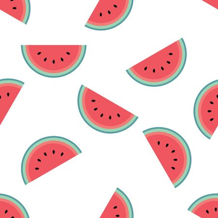 Cute watermelon pattern on a white background. Flat cartoon style. Minimalist and simple. Can be used as a wallpaper, wrapping paper, textile print, backdrop etc. Seamless vector illustration.