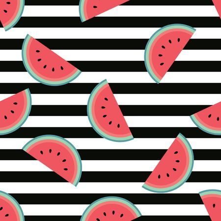 Watermelon pattern with horizontal black stripes. Flat cartoon style. Trendy, minimalist, simple. Can be used as a wallpaper, wrapping paper, textile print, backdrop etc. Seamless vector illustration. Reklamní fotografie - 138374749