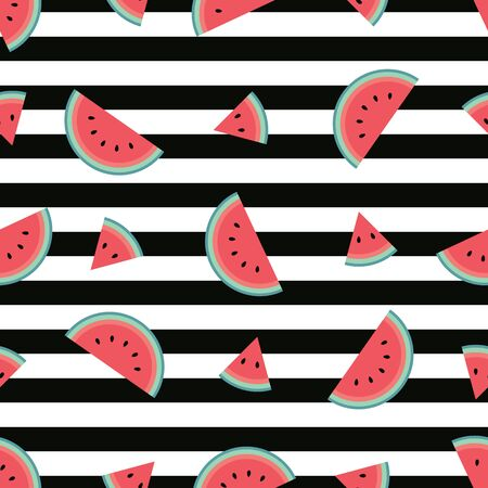 Trendy watermelon pattern with horizontal black stripes. Flat cartoon style. Minimalist, simple. Can be used as a wallpaper, wrapping paper, textile print, backdrop etc. Seamless vector illustration.