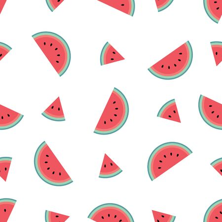 Cute watermelon pattern on a white background in a flat cartoon style. Minimalist and simple. Can be used as a wallpaper, wrapping paper, textile print, backdrop etc. Seamless vector illustration.
