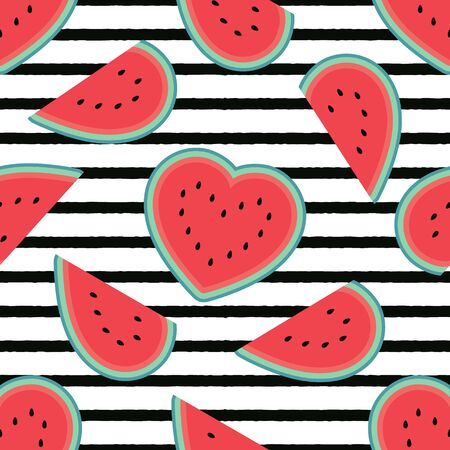 Watermelon hearts pattern with horizontal black stripes. Flat cartoon style. Minimalist, simple. Can be used as a wallpaper, wrapping paper, textile print, backdrop etc. Seamless vector illustration.