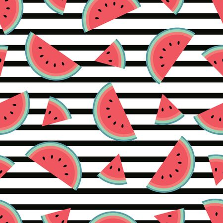 Trendy watermelon pattern with horizontal black stripes. Flat cartoon style. Minimalist, simple. Can be used as a wallpaper, wrapping paper, textile print, backdrop etc. Seamless vector illustration. Reklamní fotografie - 138374774