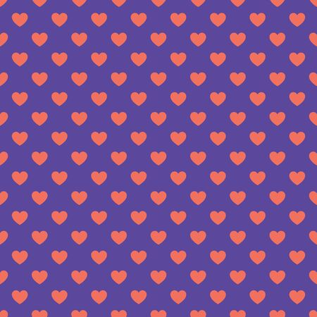 Hearts pattern in trendy violet and orange colors for Valentines Day, birthday etc. Flat style. Trendy, cute, minimalist vector illustration. Can be used as a wallpaper, wrapping paper, textile print