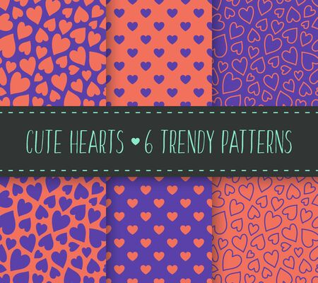 Hearts seamless patterns set in trendy bright violet and orange colors. Cute flat cartoon style vector illustration. Can be used as a background, wallpaper, wrapping paper, textile print, backdrop.