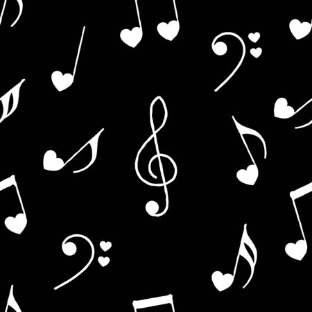 Cute musical notes with hearts on black background seamless pattern. Hand drawn style. Vector illustration. For Valentines Day background or greeting card.