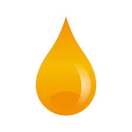 Oil drop isolated on white background. Vector illustration with honey yellow liquid drop. Can be used as a web icon, design etc.