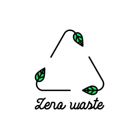 Vector icon of recycle sign made of leaves in trendy linear style. Zero waste concept. Ecological lifestyle and sustainable developments minimalist design template