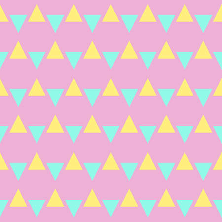 Yellow and blue triangles seamless pattern on a pale pink background. Cute trendy geometric pattern in pastel colors in flat style. Vector illustration.
