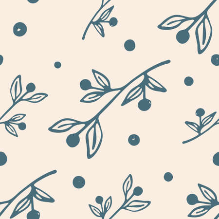 Trendy abstract organic background in rustic style in washed out colors. Vegetal seamless pattern with hand drawn plant branches in line art. Vector illustration.