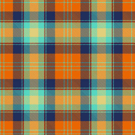 Autumn tartan seamless pattern background plaid in orange, tawny and indigo blue. Trendy autumn winter 2020 2021 colors. Traditional Scottish checkered ornament. Flat style vector illustration