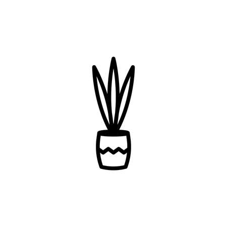 Houseplant vector icon. Mother-in-laws tongue in a flowerpot isolated on white background. Minimalist line art.