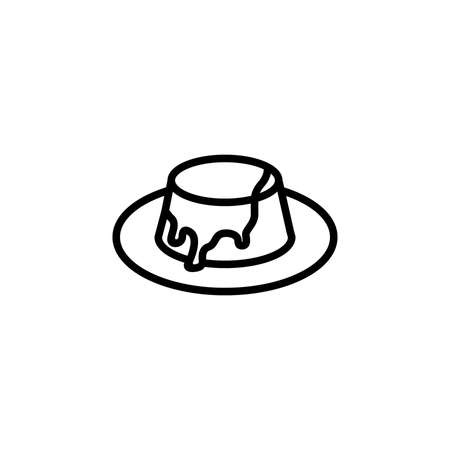 Toffee pudding vector icon. Cute pudding with sauce isolated on white background. Minimalist line art.
