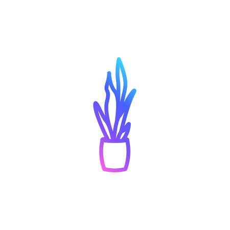 Houseplant in a pot vector icon in bright color gradient. Mother-in-law's tongue isolated on white background. Trendy line art in blue, violet and pink.