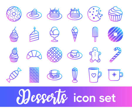 Desserts vector icon set in bright color gradient. Cute sweets and pastry icons collection. Minimalist line art. Ultimate pack for bakery, pastry shop, web sites and apps. Pixel perfect. Trendy design