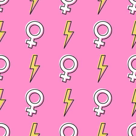 Girl power seamless pattern with flash lightning and female symbols. Feminism themed background. Yellow bolts on pink background. Vector illustration.