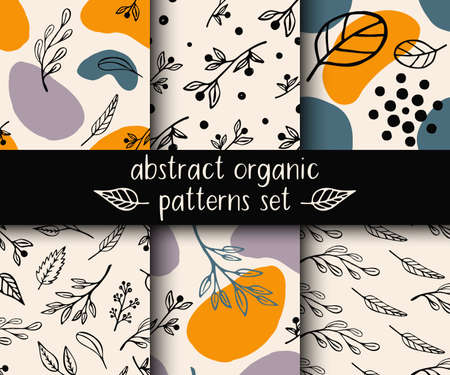Abstract organic seamless patterns set with leaves, sprigs and abstract shapes. Cute trendy vegetal backgrounds in Scandinavian style in beige, orange, green and lilac colors. Vector illustration. Ilustração