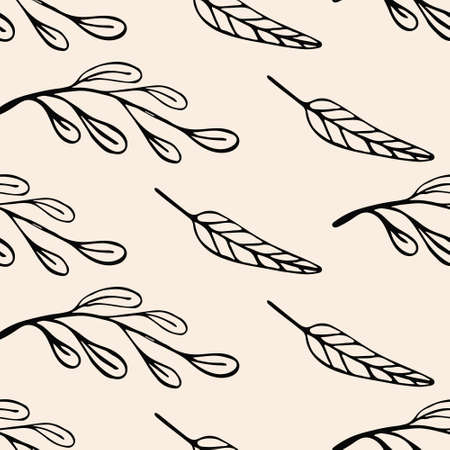 Abstract organic seamless pattern with hand drawn leaves and sprigs on beige background. Cute trendy backgrounds in minimalist Scandinavian style. Vector illustration.