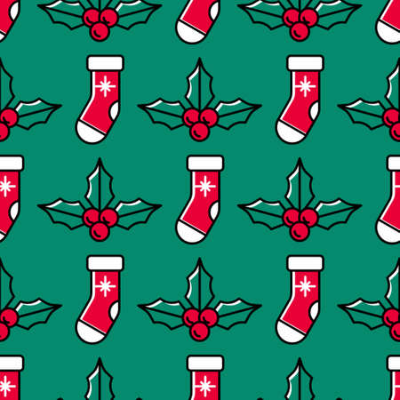 Christmas seamless pattern with Santa socks and holly on a green background. Cute colorful festive background for Christmas and New Year. Cartoon style. Red Santa socks and ilex with berries