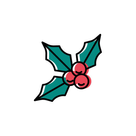 Holly berries vector icon in trendy minimalist style for Christmas. Cute bright holly isolated on white background. Winter holidays decoration. Line art. Vector Illustration