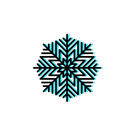 Snowflake vector icon in trendy minimalist style for Christmas holidays. Cute bright linear snowflake in black and cyan isolated on white background. Winter holidays decoration. Line art.