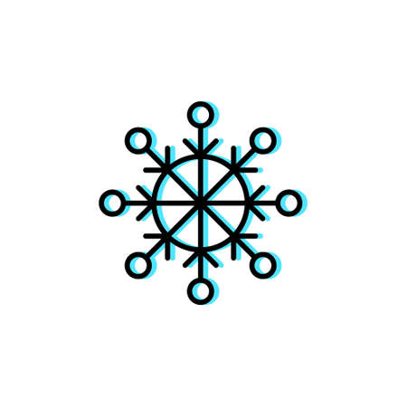 Snowflake vector icon in trendy minimalist style for Christmas. Cute cyan snowflake isolated on white background. Winter holidays decoration. Line art.