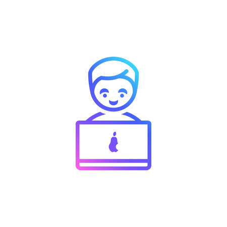 Man with a laptop vector icon for freelance, online education, business, distant work websites. Trendy vibrant color gradient. Boy with a laptop isolated on white background. Working, studying at home