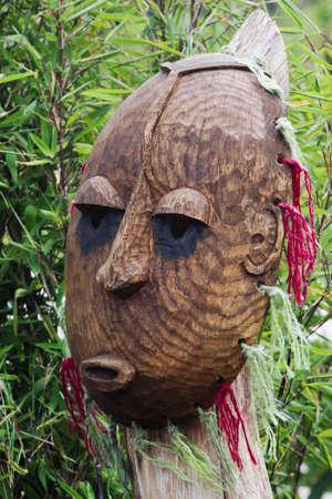 maschera tribale: Wooden Tribal Mask Archivio Fotografico