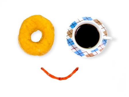 Smiling Coffee and Donut