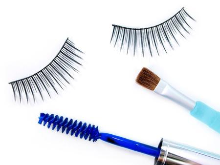 False eyelash mascara and make-up brush Stock Photo - 10333105