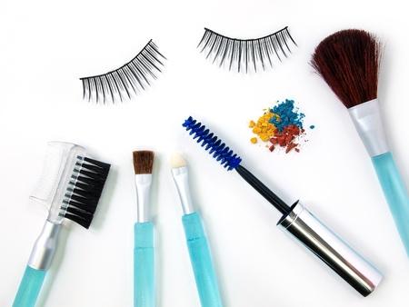 False eyelash mascara and make-up brush Standard-Bild