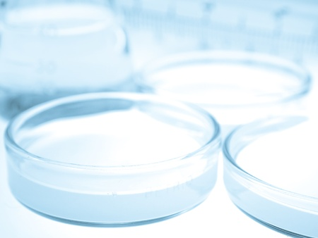 reagents: Science and medical glassware and test plate, Chemical laboratory test plate  Stock Photo