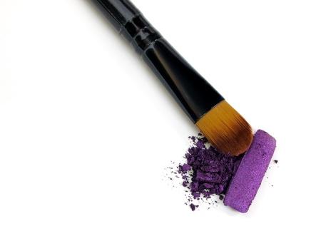 Make-up brush with colorful crushed eyeshadows Stock Photo - 10160231