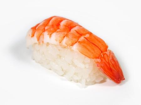 nigiri: Shrimp sushi closeup isolated on white background  Stock Photo