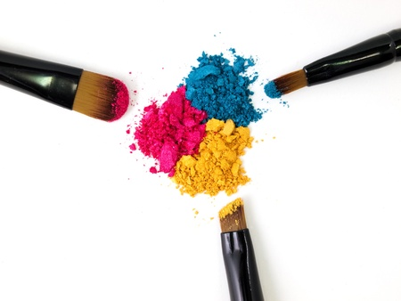 Make-up brush with colorful crushed eyeshadows  Stock Photo - 10060518