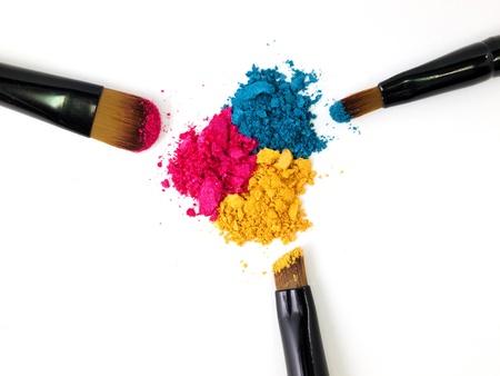 Make-up brush with colorful crushed eyeshadows Stock Photo - 10060518