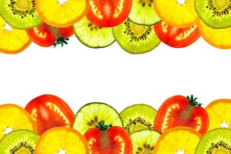 mix fruit: Background of beautiful mix sliced fruit, Kiwi, Orange, Tomato and Lime  Stock Photo