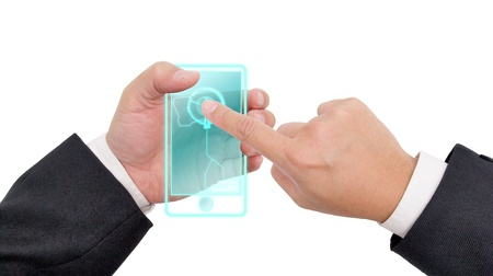 Future mobile phone in the hand  Standard-Bild